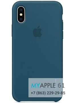 Силиконовый чехол 10 (X), 10S (XS) Apple Silicone Case синий (Cosmos Blue)